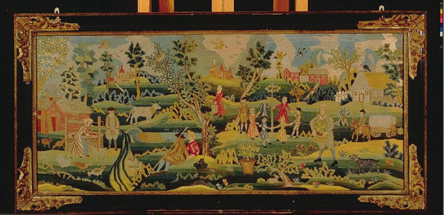 Embroidered picture with Maypole scene