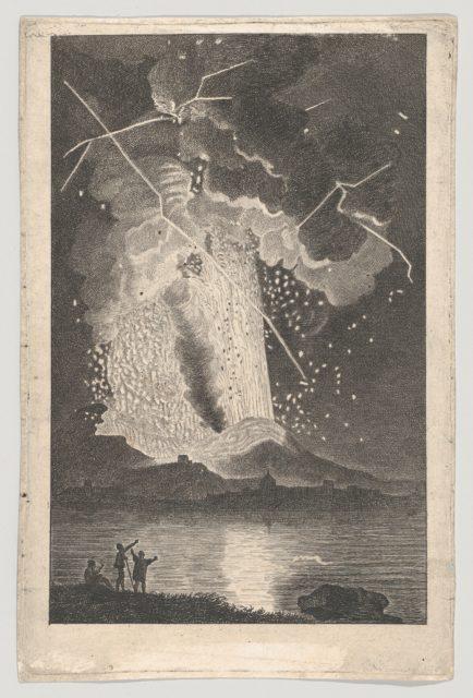 Eruption of a Vulcano (Vesuvius) seen from across the Bay