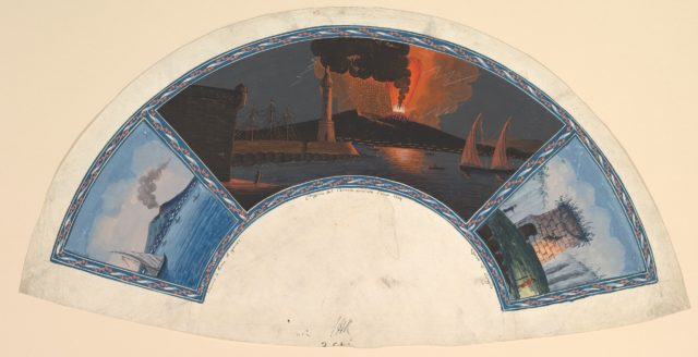 Fan Design with Eruption of Vesuvius and the Tomb of Virgil