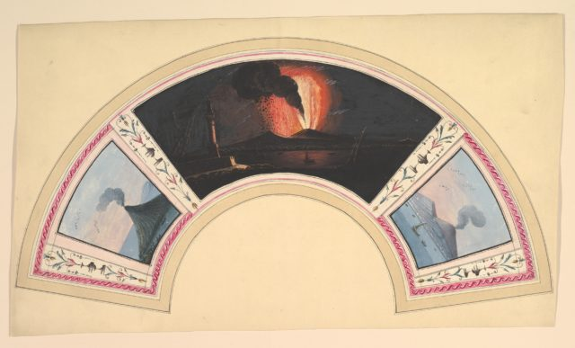 Fan Design with Eruption of Vesuvius and Three Views