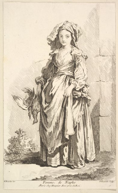 Femme de Naples, from Recueil de diverses fig.res étrangeres Inventées par F. Boucher P.tre du Roy et Gravées par F. Ravenet (Collection of Various Foreign Figures, Devised by F. Boucher, Painter of the King and Engraved [etched] by F. Ravenet), plate 2