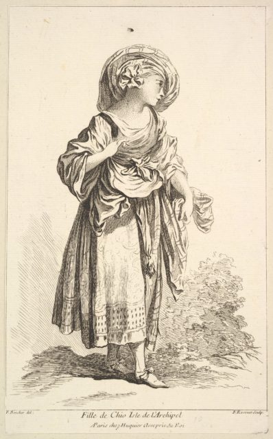 Fille de Cio isle de l'Archipel, from Recueil de diverses fig.res étrangeres Inventées par F. Boucher P.tre du Roy et Gravées par F. Ravenet (Collection of Various Foreign Figures, Devised by F. Boucher, Painter of the King and Engraved [etched] by F. Ravenet), plate 10