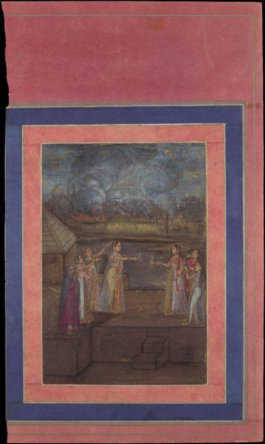 """Fireworks on the Night of Shab-i Barat Feast"", Folio from the Davis Album"