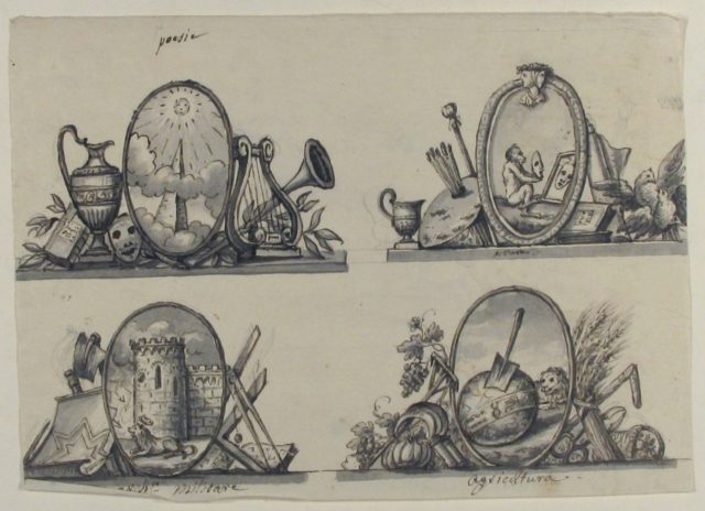 Four Designs for Emblems (recto); Sketch of Three Putti (verso)