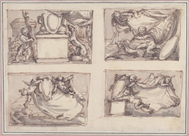Four Sketches on one Sheet Probably for Cartes de Visites