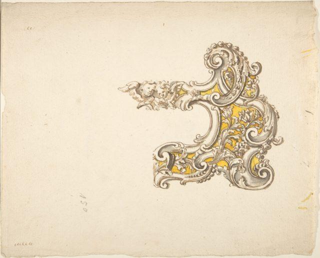 Half Rococo Cartouche with Cherubs
