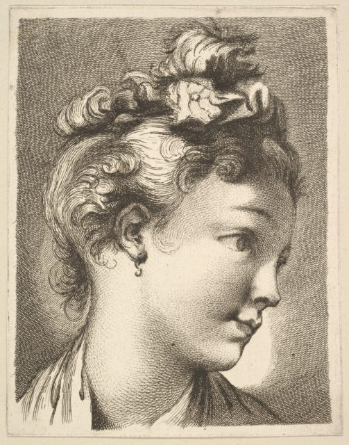 Head of a woman with her head turned to the left, from Livre de Têtes Gravées d'apres F. Boucher et Autres (Book of Heads Engraved after F. Boucher and Others)