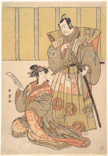 Ichikawa Danjūrō V as Kūdo no Suketsune, and Nakamura Rikō as Oiso no Tora