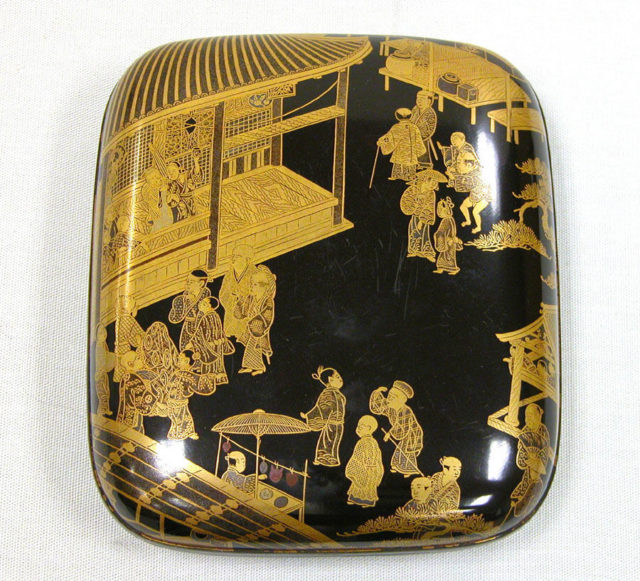 Incense Box with Kyōgen Theater Scene at Mibu Temple in Kyoto