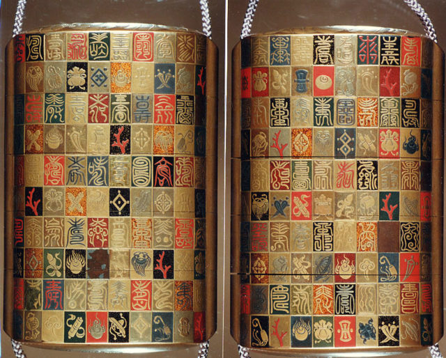 """Inrō with the Characters for Longevity and Good Fortune and the """"Seven Lucky Treasures"""" on Checkerboard Ground"""