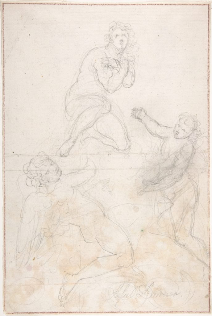 Kneeling Female Nude and Two Studies of Angels