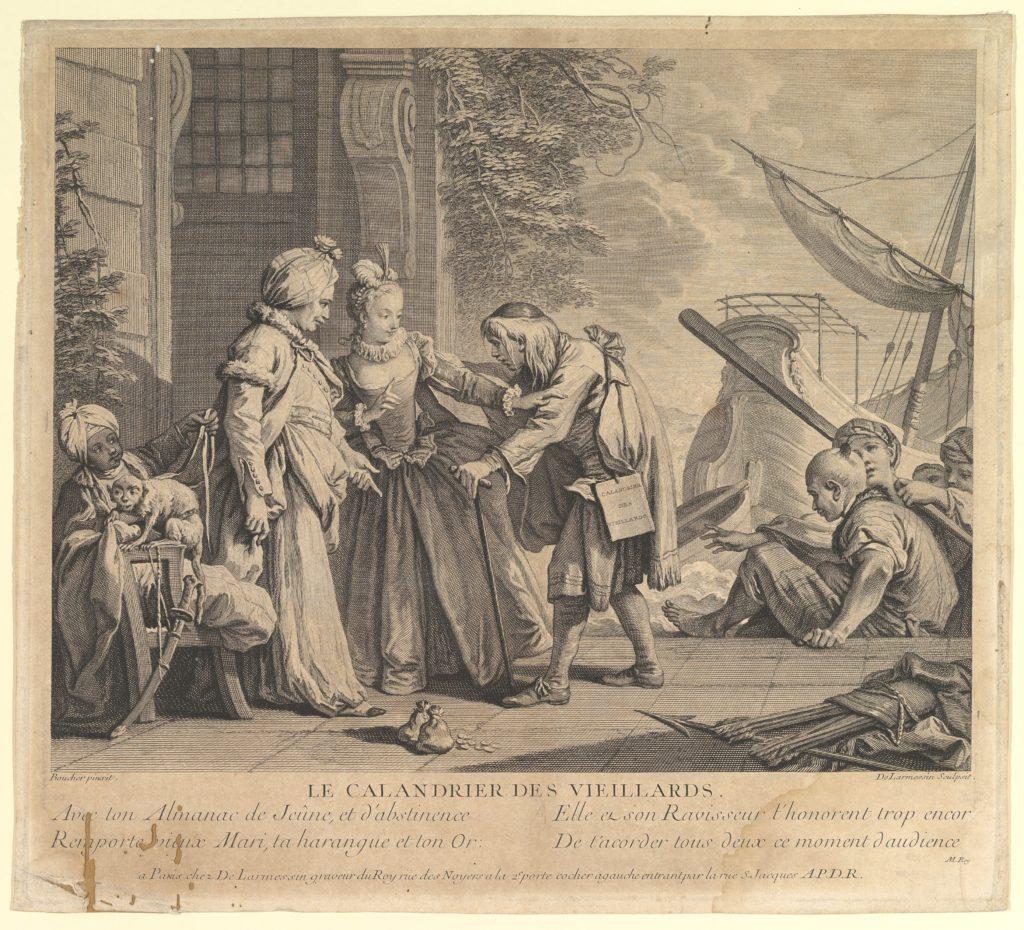 Le Calandrier des Vieillards (The Calander of the Elderly), from Suite d'Estampes Nouvelles pour les Contes de la Fontaine (Series of New Prints for the Tales of the Fountain)