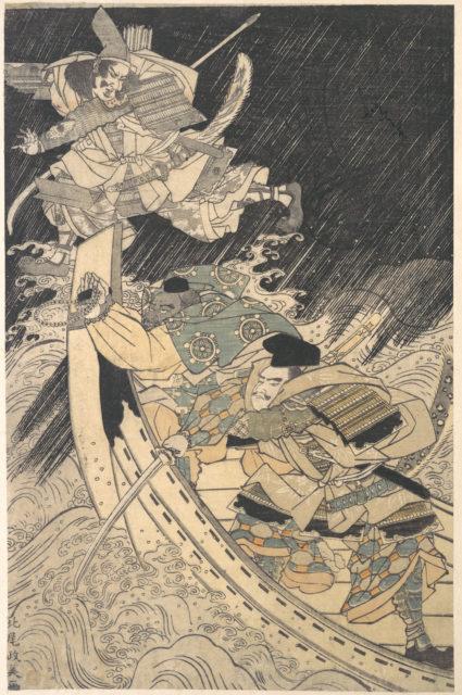 Minamoto Yoshitsune and His Retainer, the Monk Benkei, Putting to Flight the Ghost of Taira no Tomomori