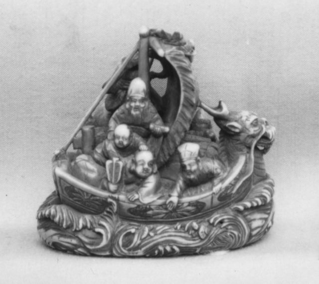 Netsuke of Boat with the Seven Gods of Good Fortune