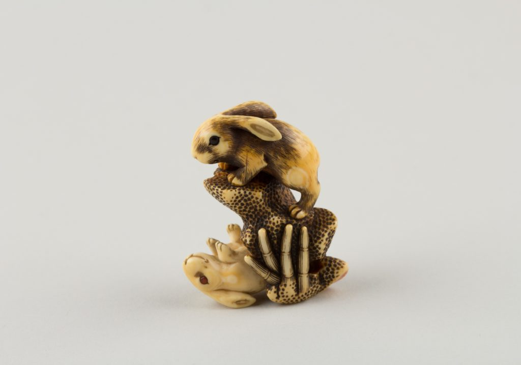 Netsuke of Two Rabbits and a Rock
