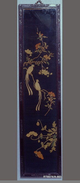 Panel with Long-Tailed Birds, Camellia, Clematis, and Poppies