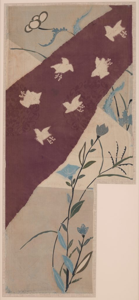 Pieces from a Robe (Kosode) with Autumn Grasses