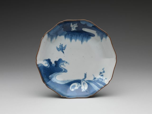 Plate with Geese and Waves