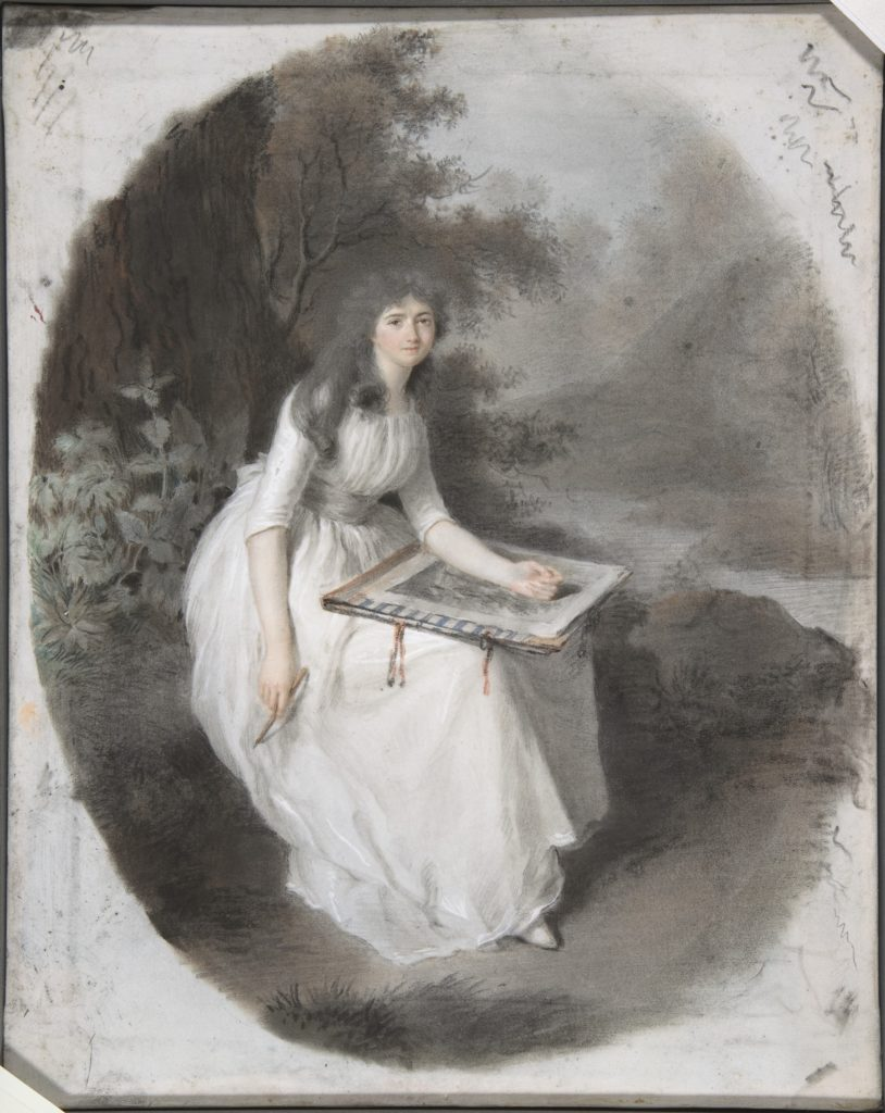 Portrait of a Seated Young Lady Drawing under a Tree