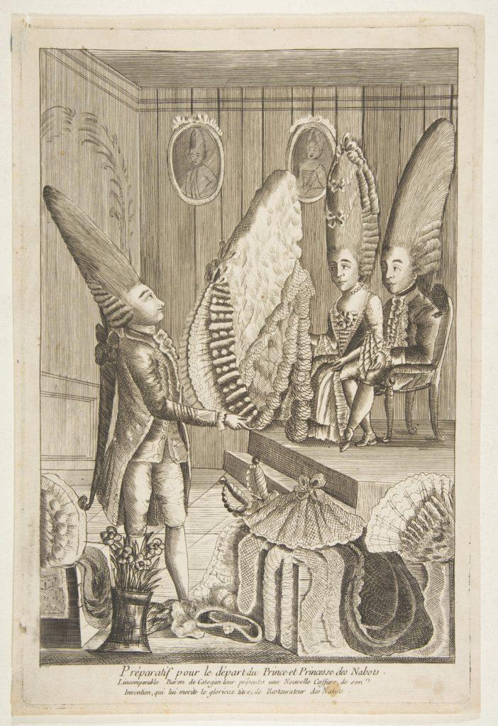 Préparatif pour le départ du Prince et Princesse des Nabots. L'incomparable Baron de Catagon leur présentes une Nouvelle Coeffure, do son Invention, qui lui merité le glorieux titre de Restaurateur des Nabots