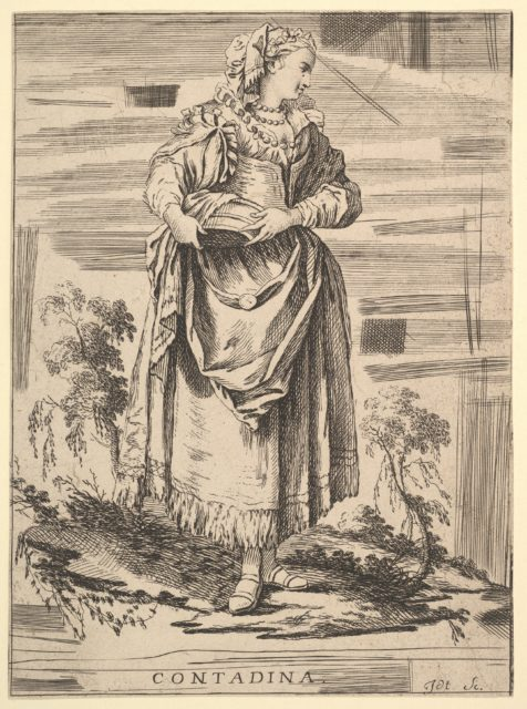 Reverse copy of Contadina, Recueil de diverses fig.res étrangeres Inventées par F. Boucher P.tre du Roy et Gravées par F. Ravenet (Collection of Various Foreign Figures, Devised by F. Boucher, Painter of the King and Engraved [etched] by F. Ravenet), plate 7