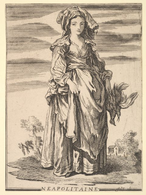 Reverse copy of Neapolitaine, from Recueil de diverses fig.res étrangeres Inventées par F. Boucher P.tre du Roy et Gravées par F. Ravenet (Collection of Various Foreign Figures, Devised by F. Boucher, Painter of the King and Engraved [etched] by F. Ravenet), plate 2