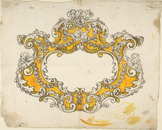 Rococo Cartouche with Cherubs
