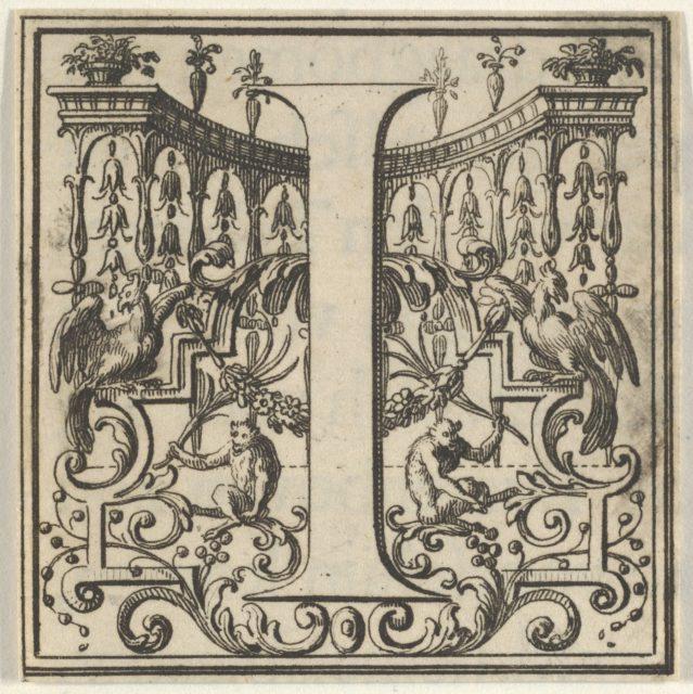 Roman Alphabet letter I with Louis XIV decoration