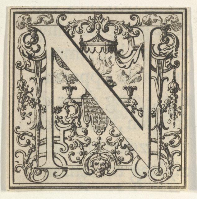 Roman Alphabet letter N with Louis XIV decoration