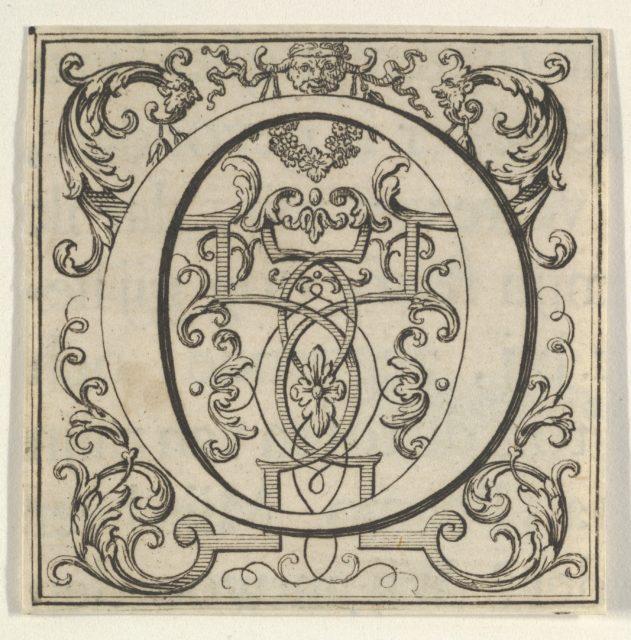 Roman Alphabet letter O with Louis XIV decoration