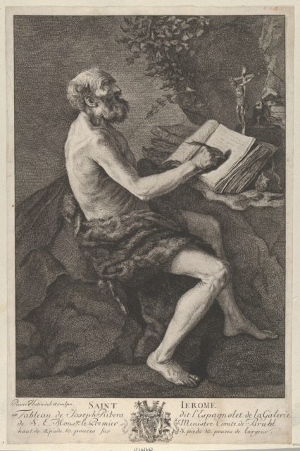 Saint Jerome in the Wilderness, seated, writing and meditating on a crucifix