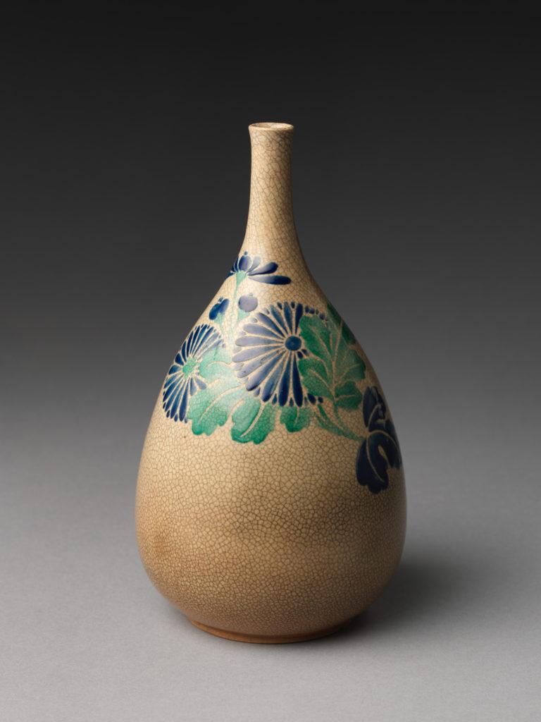 Sake bottle with chrysanthemums