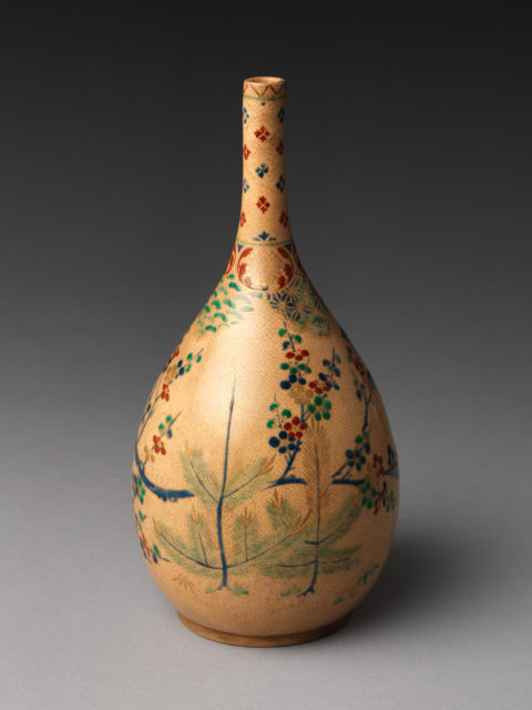Sake bottle with pine and plum