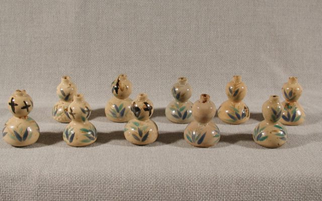 Set of Ten Gourd-Shaped Vessels with Reed Design