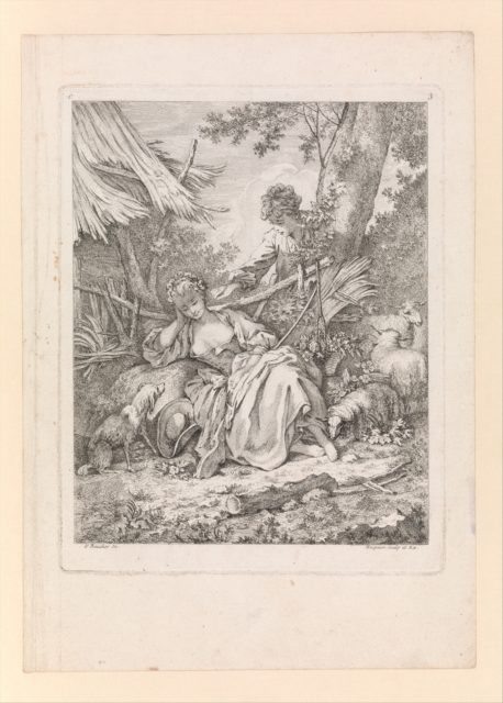 Shepherd tickling a sleeping Shepherdess with a piece of straw, from Troisieme Livre de Sujets et Pastorales (Third Book of Subjects and Pastorals), plate 3