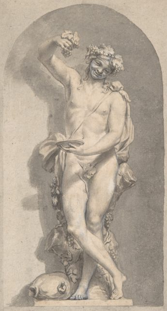 Silhouetted Study of Bacchus in a Niche