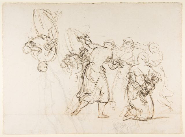 Sketch for the Judgment of Solomon (?); verso: Dancing Mythological Figures