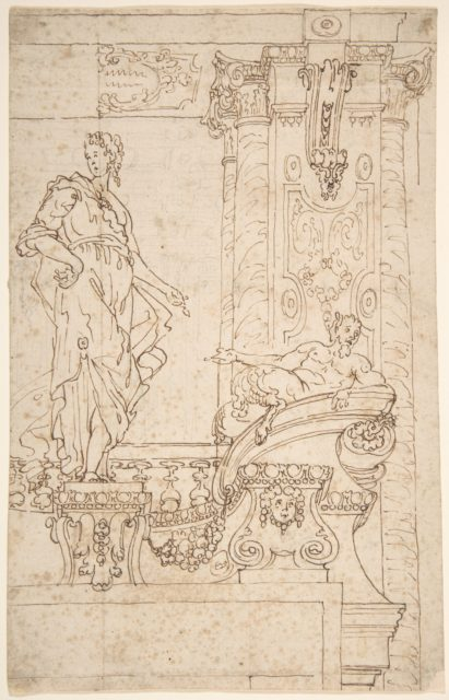 Sketch of Balcony and Pier (?) With Standing Female and a Reclining Satyr