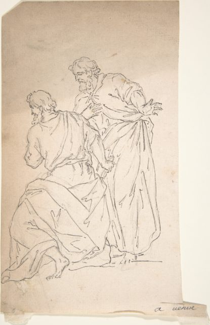 Sketch of Two Male Figures in Classical Costume