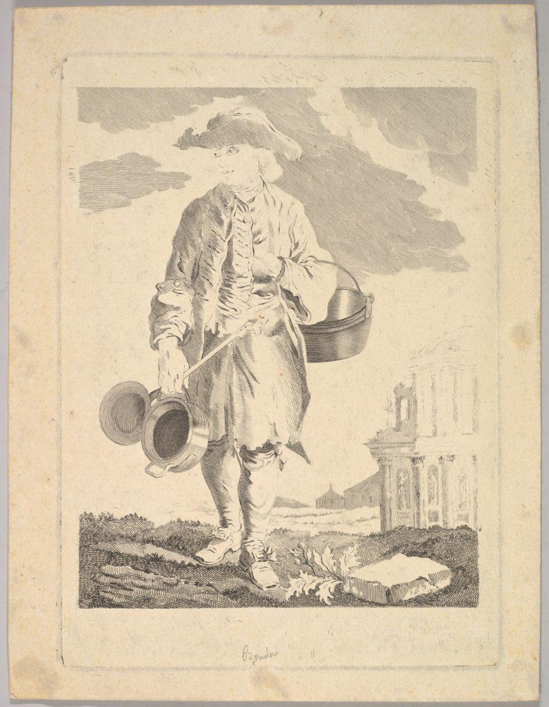 Standing man holding kettles