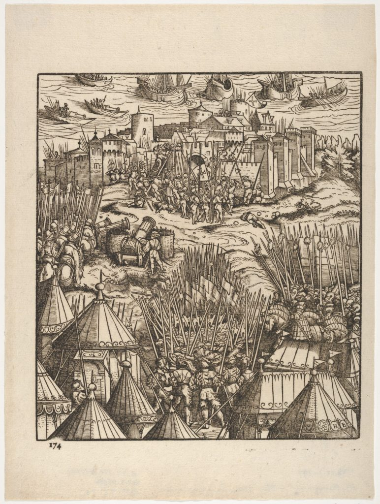 Storming of Moran, at the Shore, from Der Weisskunig