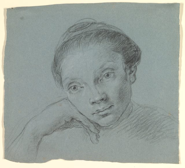 Study of a Woman in Bust-Length Three-Quarter View (recto); Summary Sketch of the Same (verso).