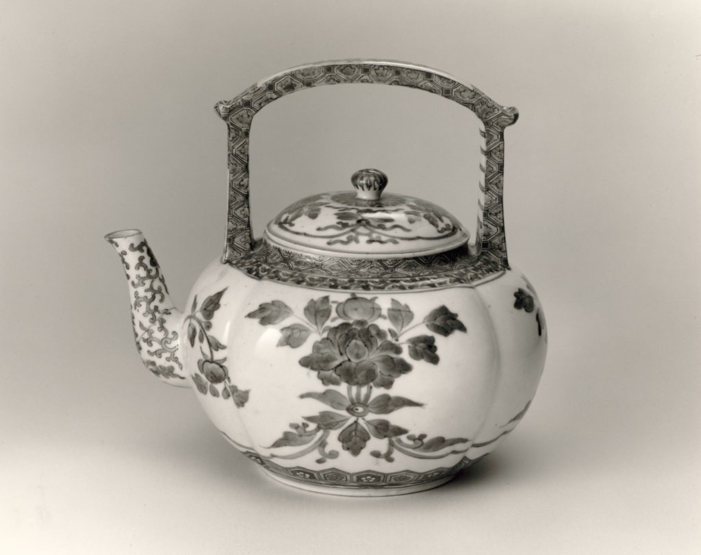 Teapot in Melon Shape with Peonies