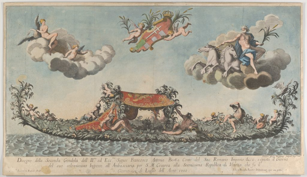 The highly ornamented second gondola of Francesco Antonio Berka entering Venice, Gods on clouds in the upper section