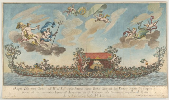 The highly ornamented third gondola of Francesco Antonio Berka entering Venice, Gods on clouds in the upper section
