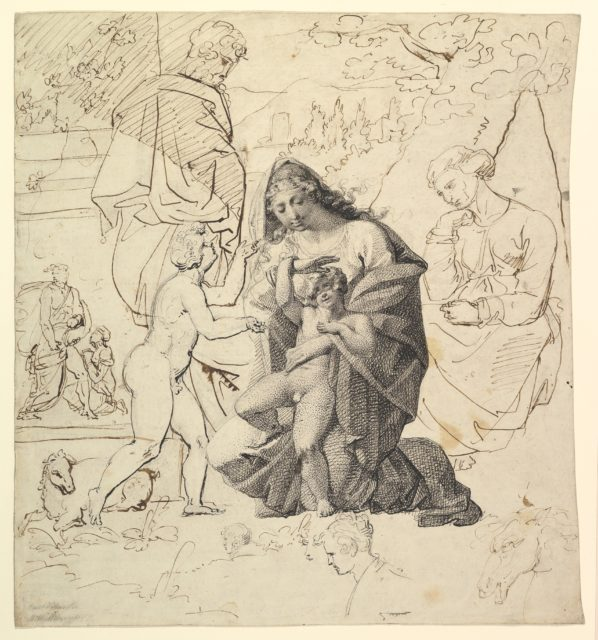 The Holy Family with Saint Anne and Saint John in a classical landscape; verso: The Holy Family with Saint Anne and Saint John