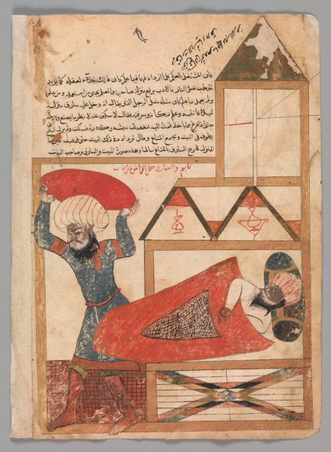 """""""The Man who Pretends to be Asleep While the Thief Enters his House Becomes Drowsy and Really Falls Asleep"""", Folio from a Kalila wa Dimna"""