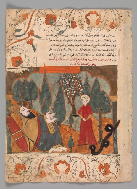 """The Old Snake Tells the Tale of Biting the Ascetic's Son by Mistake"", Folio from a Kalila wa Dimna"