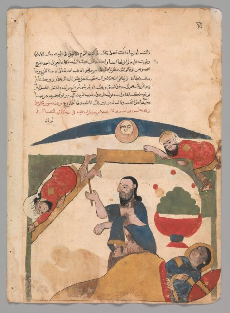 """The Thief Falls Through the Skylight in the Bedroom"", Folio from a Kalila wa Dimna"