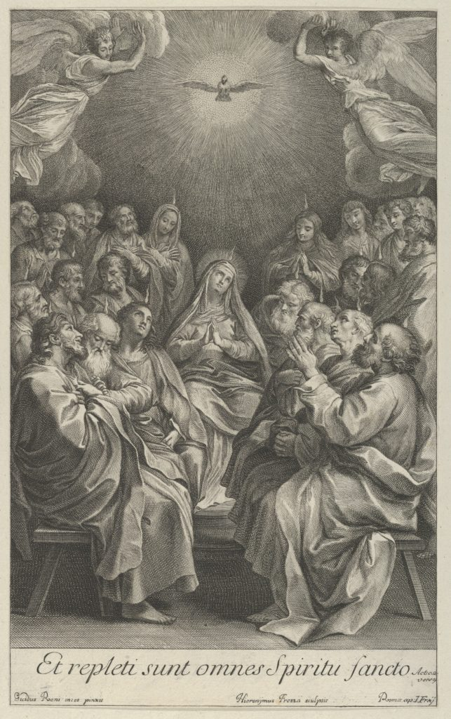 The Virgin with apostles looking up towards the Holy Dove and two angels, after Reni